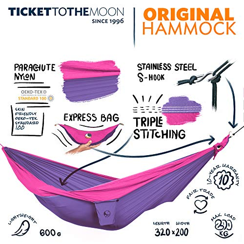 Ticket to the Moon Fair Trade & Handmade 1-2 Person Double/Original- Lightweight-Hammock Purple-Pink for Travelling, Camping, Everyday, XL 3.2*2m, 600g, Parachute-Silk, Set-Up  1 min., OEKO-TEX 10Y. WNTY
