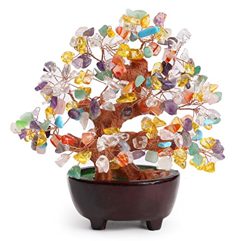 HapiLeap 6 Inch Feng Shui Aventurine Quartz Gem Stone Money Tree Natural Green Crystal Money Tree Office Living Room Good Luck Decoration (Multicolor)