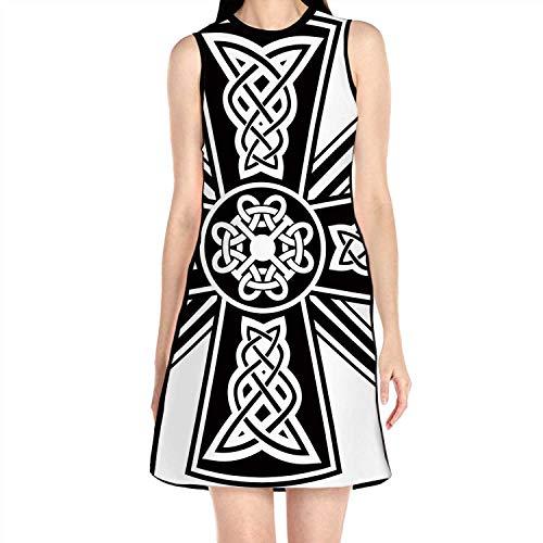 C COABALLA Celtic with The ed Swords,Women's Sundress Sleeveless A Line Dress S