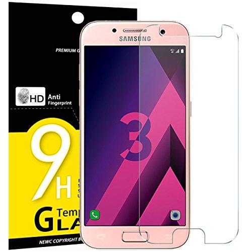 NEW'C PanzerglasFolie Schutzfolie für Samsung Galaxy A3 2017, Frei von Kratzern Fingabdrücken und Öl, 9H Härte, HD Displayschutzfolie, 0.33mm Ultra-klar, Displayschutzfolie Samsung A3 2017
