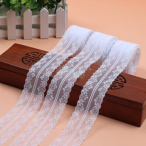 DAHI spitzenband 50 Meter weiß Vintage 4cm Breite - Spitzenbordüre Zum Nähen für Hochzeit Tischdeko Basteln Geschenkband Kraftpapier (weiß)