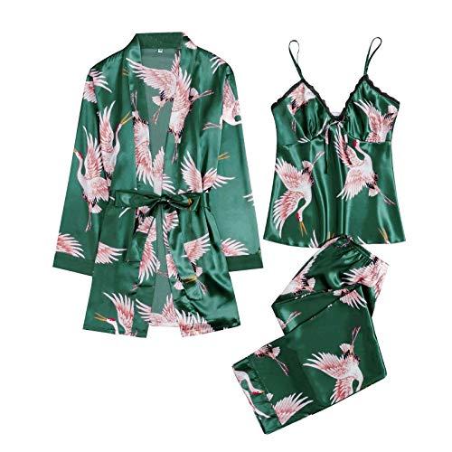 DOSN Conjunto de pijama para mujer con estampado de grúas, pijama corto y volador, pijama, kimono, túnica, corto, túnica, para mujer, estampado verde XL