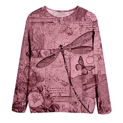 YANFANG Blusas fáciles Tops Moda Mujer Cuello Redondo Estampado Animal Mangas largas Jersey ,Blusas y Camisas de Mujer ,Linda Estampado Primavera Otoño Elegante Camisa Camiseta, Hot Pink,L
