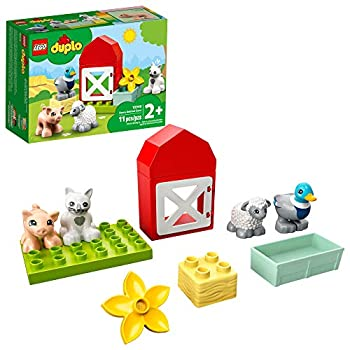 LEGO DUPLO Town Farm Animal Care 10949 Imaginative Build-and-Play Toy for Toddlers  Buildable Farm Playset with 4 Animal Figures – a Duck Toy Cat Figure Pig Toy and Sheep Toy New 2021  11 Pieces