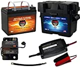 Boat Battery Kit: VMAX 12V 35ah AGM Battery + VMAX Marine Battery Box + Waterproof Circuit Breaker + 12V 4-Stage Smart Charger + 9' 100% Copper Cable. AGM Battery Kit for 18-35lb trolling Motors.