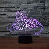 Tiger Colorful 3D Lamp Led Kids Lamp Touch Batería Compartimento Light Speed Vender The General View Led Night Light