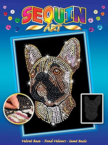 MAMMUT 8041712 - Sequin Art Paillettenbild Bulldogge, Hund, Steckbild, Bastelset mit Styropor-Rahmen, samtige Bildvorlage, Pailletten, Steckstiften, Anleitung, ab 8 Jahre