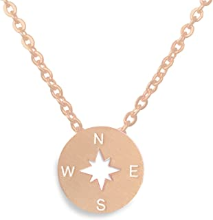 Compass Necklace, Best Friend or Graduation Gift (Silver, Gold, Rose-Gold)