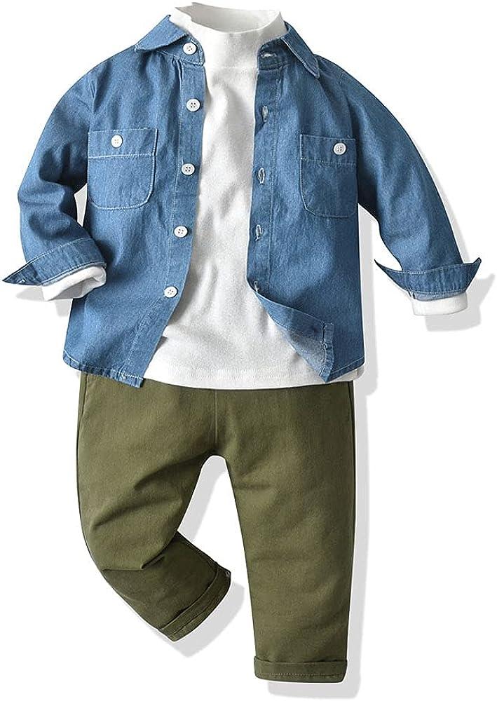 Wnitefg Boys Plaid Shirt+Half High Collar Pullover+Denim Pants 3Pcs Outfits Pants Set Clothes 1-7Y Lightblue