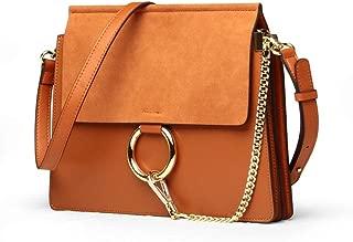 Women Retro Circular Ring Crossbody Bag Purse Scrub Leather Shoulder Handbag Ladies Cute Chain Satchel Tote Bag Makeup Pouch for Girls,L