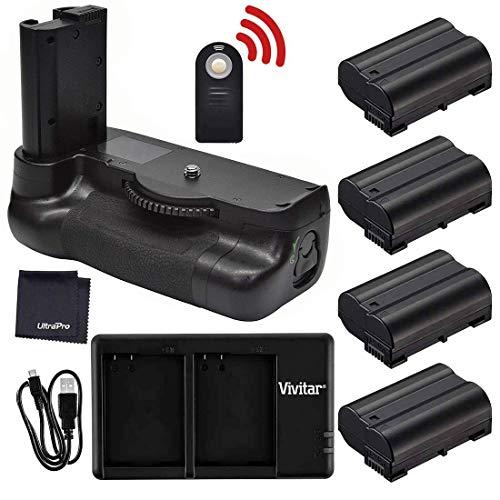 Battery Grip Bundle F/Nikon D7500: Includes MB-D18 Replacement Grip, 4-Pk EN-EL15 Long-Life Battery, Rapid Dual Charger, UltraPro Accessory Bundle