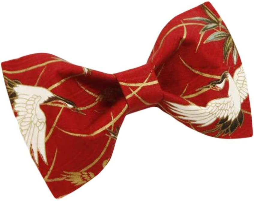 Wukong Direct Men Bow Tie Polyester Neckties Chinese Style Red Crown Crane Wedding Bow Tie