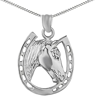 14k Gold Over Horse face and Horseshoe Pendant Necklace Charm