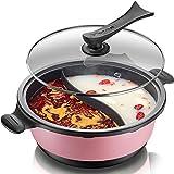 HotPot Pink Electric 6 Liter 1800W, einstellbare Dateien für Shabu Shabu, Hot Pot mit Divide und...