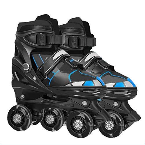 Herren Damen verstellbare Classic Rollschuhe   ABEC-7 Chrome Kugellager   Rollschuhe für Kinder   Jugendliche und Erwachsene, größenverstellbare Quad-Skates, 3 Größen, Rollerskates,Blau,M (35~38)
