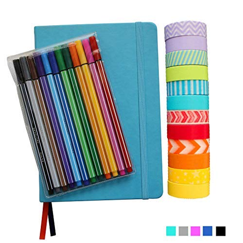 Bullet Dotted Journal Kit With Supplies - Turquoise A5 Hard Cover Dotted No-bleed Page Notebook, 12 Fineliner Pens, 12 Washi Tapes - All-in-one Journal Starter Set by Wonderful Washi