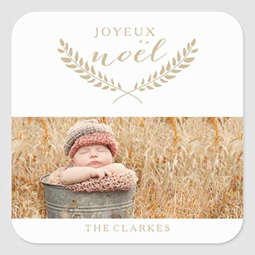 Square Label Stickers, Set of 50, JOYEUX NOEL MODERN HOLIDAY PHOTO GIFT TAGS Classic Sticker, Envelope Seals Stickers for Christmas Cards Gift Envelopes Boxes Party Favors, 2 Inch