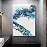 wZUN Pintura en Lienzo Pintura al óleo Azul Abstracta, Arte de la Pared del hogar, Carteles e Impresiones de decoración de la Sala de Estar 60x80 Sin Marco