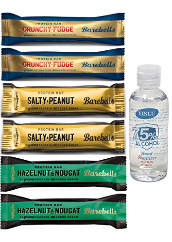 Barebells Low Sugar Protein Bar - Crunchy Fudge Salty Peanut Hazelnut Nougat Mixed Box (12x 55G) *See Features & Details (6x55g)