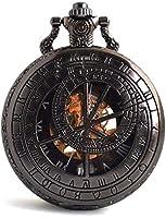 クォーツメカニカルポケットウォッチ、12星座コンパスメカニカルポケットウォッチギフトボックス付中空機械式懐中時計,黒