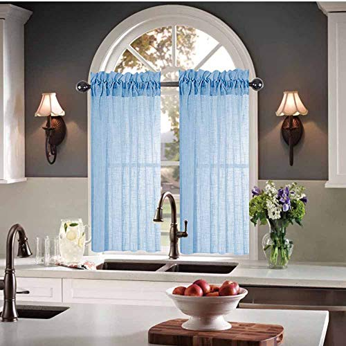 Kitchen Curtains 24 inch Length Sets Semi Sheer Kitchen Window Curtains Sky Blue Small Curtains for Kitchen Windows 30 X 24 (60 x 24 Inches 2 Short Panels) Striped Linen Textured Cafe Curtains