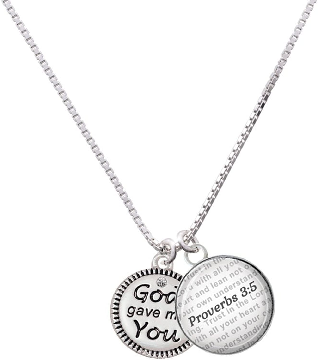 Delight Silgreenone God Gave Me You - Bible Verse Proverbs 3 5 Glass Dome Necklace, 18 +2