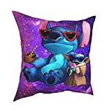 Stitch and Yoda Decorative Throw Pillow Covers for Couch Bedroom Couch Sofa Living Room 18x18 inch