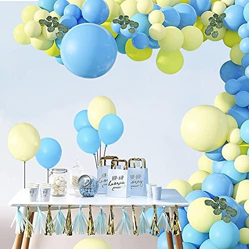 UNIVERTEN Palloncini Battesimo Bambino, Kit Arco Palloncino Blu Ghirlanda Palloncini Compleanno Palloncini Matrimonio per Battesimo Bimbo, Compleanno, Matrimonio e Addio al Nubilato (103 Pezzi)