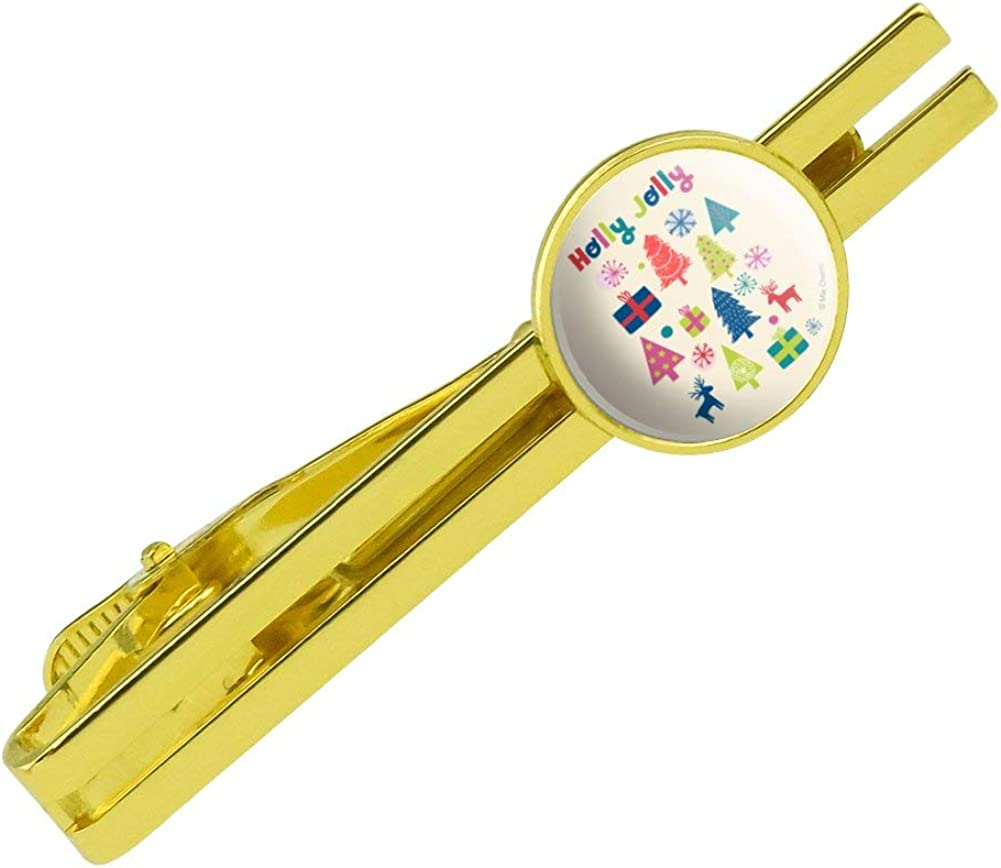 GRAPHICS & MORE Holly Jolly Christmas Round Tie Bar Clip Clasp Tack Gold Color Plated