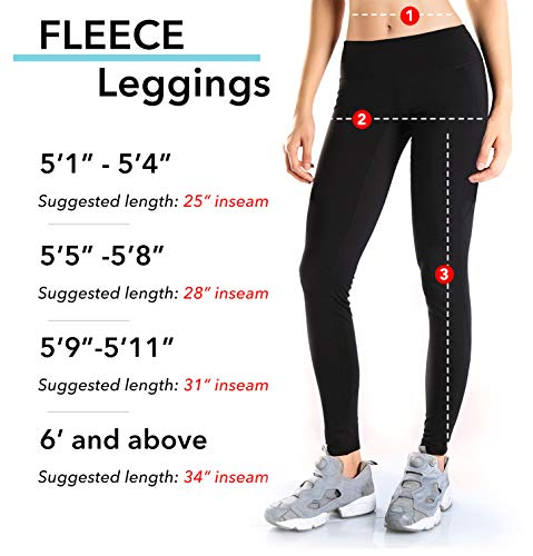 Yogipace Petite/Regular/Tall,Women's Water Resistant Fleece Lined Thermal Tights Winter Running Cycling Skiing Leggings with Zippered Pocket,31',Black,Size L