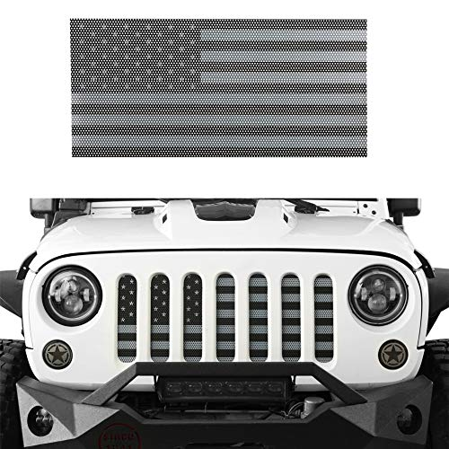 Hooke Road Front Mesh Grille Insert US Flag Old Glory for 2007-2018 Jeep Wrangler JK & Wrangler Unlimited (Black Out)