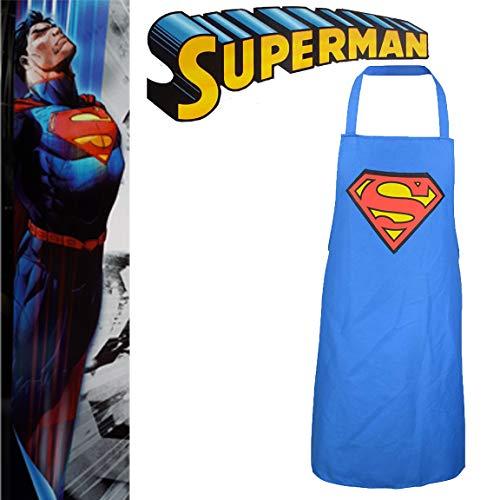 Bada Bing Original Superman Schürze BBQ Grillschürze Für den Mann Schürze Für Jeden Superhelden Für Die Helden am Grill Grillmaster Grillen Grillzubehör Männergeschenk 46