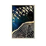 Luna Arte de la pared Pintura de la lona Golden Mountain Birds Carteles e impresiones para la sala de estar Decoración para el hogar 60x80cm