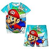 Traje de Mario Bros, Ropa Deportiva Impresa en 3D de Verano, Camiseta para Niños y Niñas, Ropa de Moda Camiseta y Pantalones Traje
