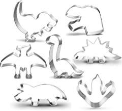 New Dinosaur Cookie Cutter Set-3 Inches-Dinosaur Footprint Head, Tyrannosaurus, Brontosaurs, Spinosaurus, Triceratops Dino...