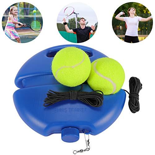 Fostoy Tennistrainer, Tennisball Trainer Singles Training Übungsbälle, Tennis Baseboard mit Einem Seil und 2 Trainingsball, Tennis Selbststudium Praxis Training Tool für Anfänger Kinder Erwachsene