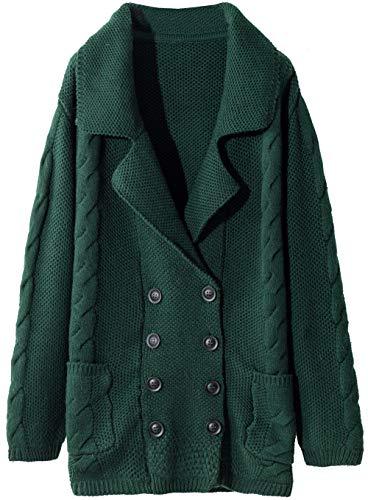 LinyXin Cashmere Damen langarmer Strickmantel mit Reverskragen warm und kuschelig für Winter Oversized Cardigan mit Knöpfen und Tasche Modischer Casual-Look (XL / 46-48, Grün)