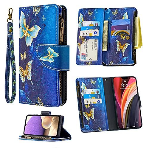 Jorisa Portefeuille Coque pour Samsung Galaxy A72 5G,Filles Femmes Cuir Fermeture éclair Pochette Sac à Main Étui Housse avec 9 Fentes pour Cartes,Fonction Support,Dragonne-Papillon Or Bleu