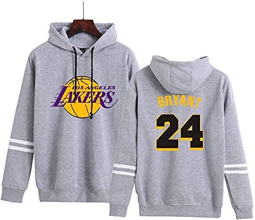 CPBY Lakers Conmemorando Bryant # 24 Bisagra Suéter Pareja Fan Ventilador Deportes Estrella Deportes Jersey(XL, Grey)