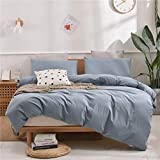 Janlive Washed Cotton Duvet Cover Queen Ultra Soft 100% Natural Cotton Solid Grayish Blue Duvet Cover Set with Zipper Closure -3 Pieces Grayish Blue Queen