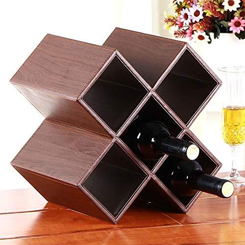 Estanterías de vino dkee PU cuero uva vino estante decoración creativa moderna minimalista estructura de madera decoración accesorios for el hogar estante de vino