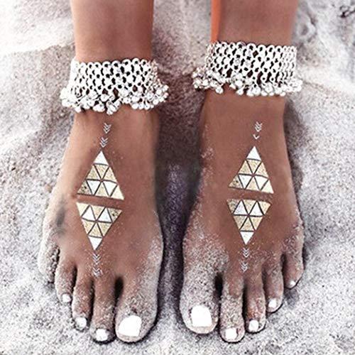 Sethain Jahrgang Fußkette Silber Bohemien Fußkettchen Anhänger Klimpern Fußschmuck Strand Fußketten für Frauen und Mädchen