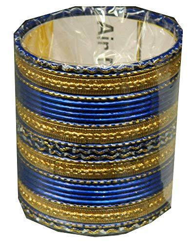 Indische Bangles 24 Armreifen Royal blau 7,0 cm mit Bindis Bollywood Sari Schmuck