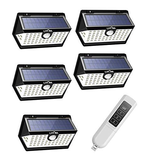 Litom Solar Lights Outdoor, 122 Led Solar Motion Sensor Lights with Wide Angle, Easy to Install, IP65 Waterproof Solar Lights for Front Door, Yard, Garage, Deck-5 Pack