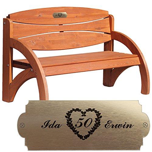 Geschenke 24 Personalisierte Gartenbank zur Goldenen Hochzeit Kirschbaum - persönliches Geschenk mit Gravur - eine schöne Geschenkidee zum 50. Hochzeitstag für Männer und Frauen Kirschbaum