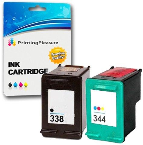 Printing Pleasure 2 Tintenpatronen kompatibel zu HP 338 344 für DeskJet 460 460c 460cb 6620 6840 9800 9860 Photosmart 2575 Pro B8330 Officejet 100 Mobile 6210 7210 7310 - Schwarz/Color, hohe Kapazität