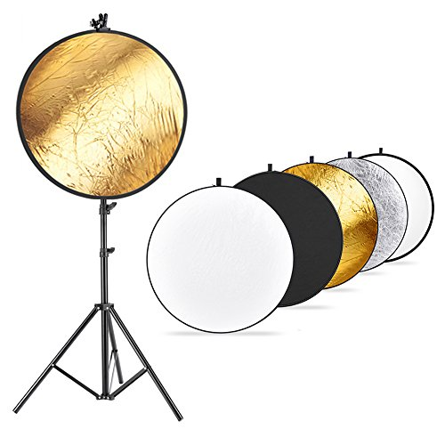 Neewer Photo Studio Lighting Reflector and Stand Kit: 43 inches/110 Centimeters 5-in-1 Multi-Disc Reflector,75-inch Light Stand and Metal Reflector Clamp Holder for Photo Video Portrait Photography