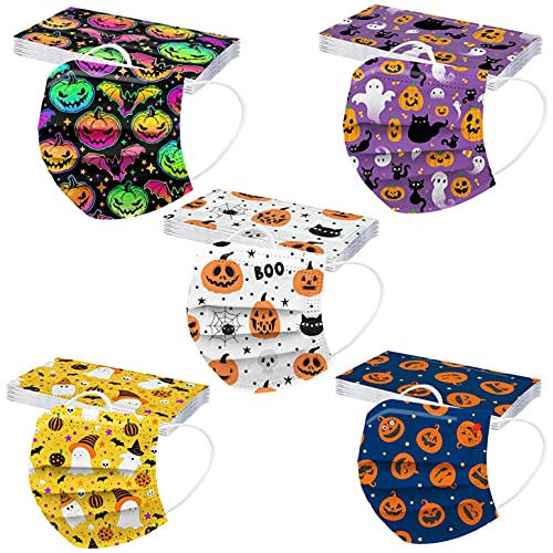 50PC Tie Dye Colored Printed Fall Disposable Face_Mask for Kids Boys Girls with Halloween Patterns Cute Design