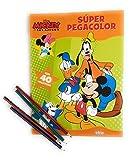 Disney Mickey Pinta y pega con Mickey Super Pegacolor Libro Para Colorear 40 Pegatinas Amarillo