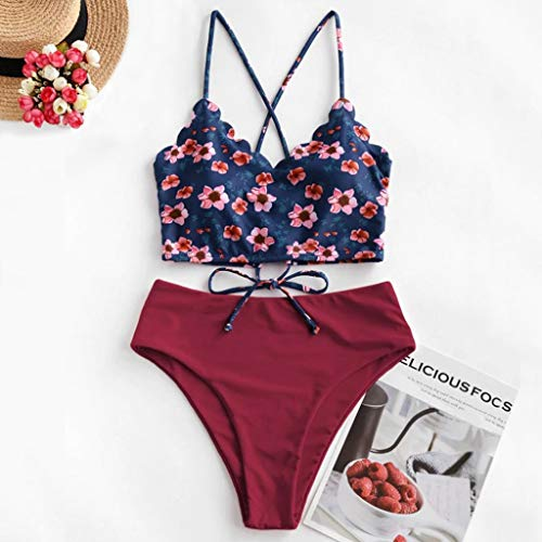 Dicomi Women Bikinis Fashion Floral Scalloped Crisscross Lace-up Frill Vest Tankini Swimsuit Beachwear Wine